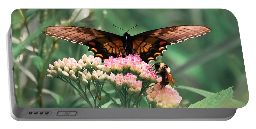 Butterfly Portable Battery Charger featuring the digital art The Butterfly And The Bumblebee by DigiArt Diaries by Vicky B Fuller