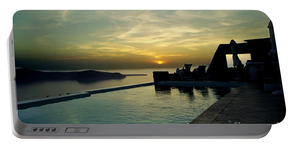 Caldera Portable Battery Charger featuring the photograph The Caldera View In Santorini by Madeline Ellis