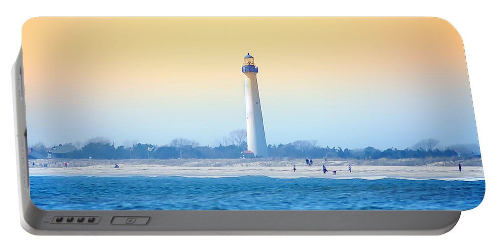 Cape May Portable Battery Charger featuring the photograph The Cape May Light House by Bill Cannon