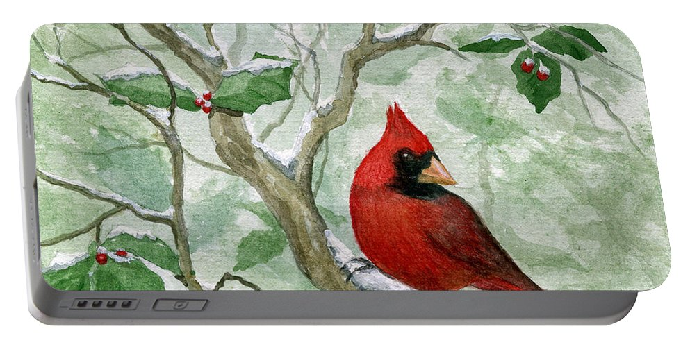 Cardinal Portable Battery Charger featuring the painting The Cardinal by Mary Tuomi