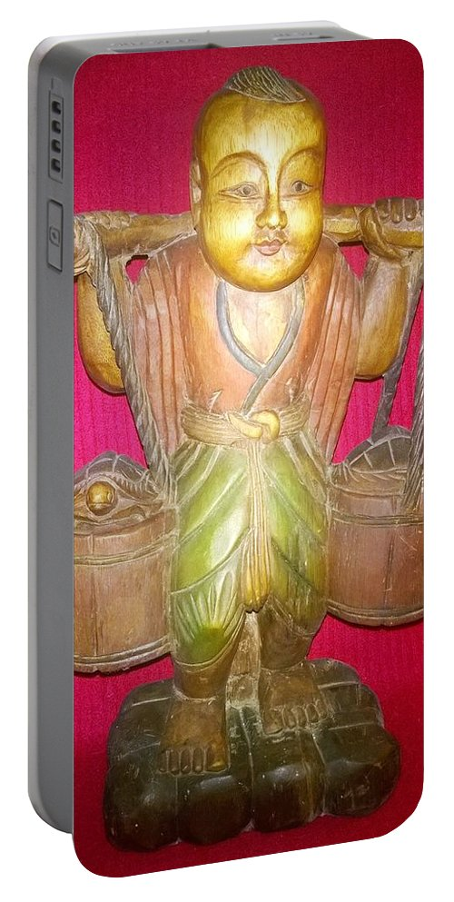 He Carrier - Sp014 - Studio Photography - Antique Thai Wood Sculpture Portable Battery Charger featuring the photograph The Carrier by Mike Russell