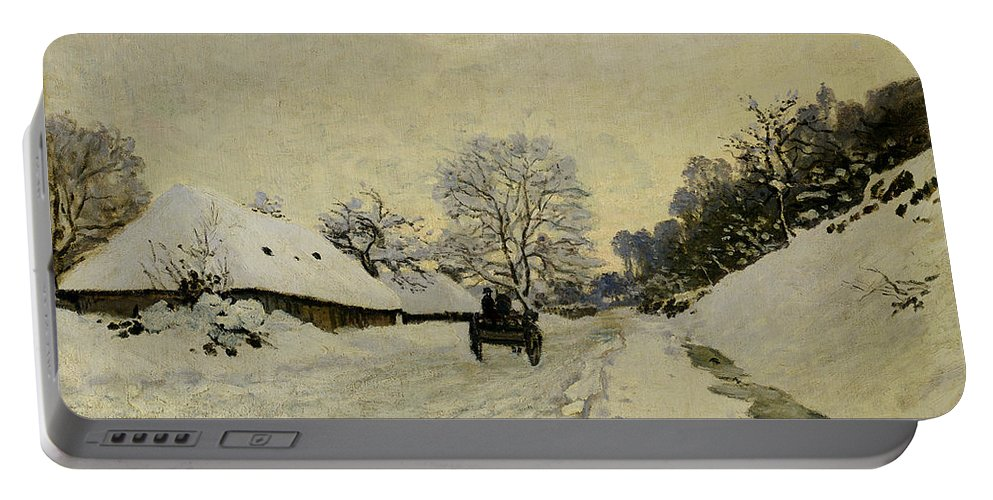 The Cart Portable Battery Charger featuring the painting The Cart by Claude Monet