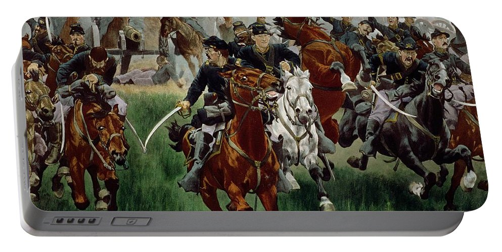 Portable Battery Charger featuring the painting The Cavalry by WT Trego
