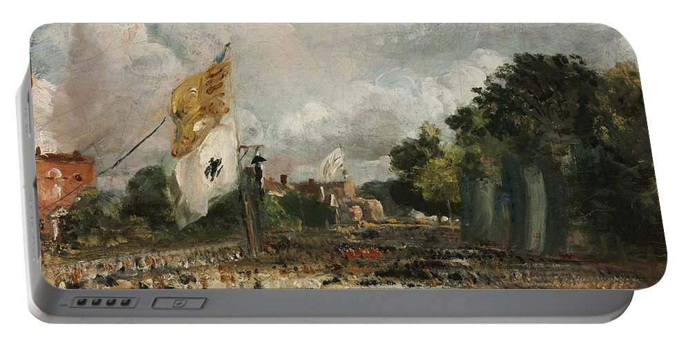 John Constable Portable Battery Charger featuring the painting The Celebration In East Bergholt Of The Peace Of 1814 Concluded In Paris by John Constable