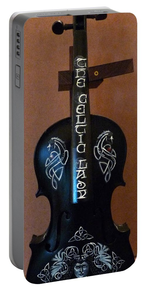 Violin Portable Battery Charger featuring the painting The Celtic Lady 1 by Richard Le Page