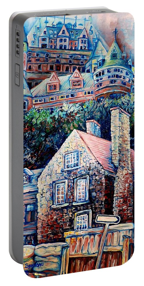 Chateau Frontenac Portable Battery Charger featuring the painting The Chateau Frontenac by Carole Spandau