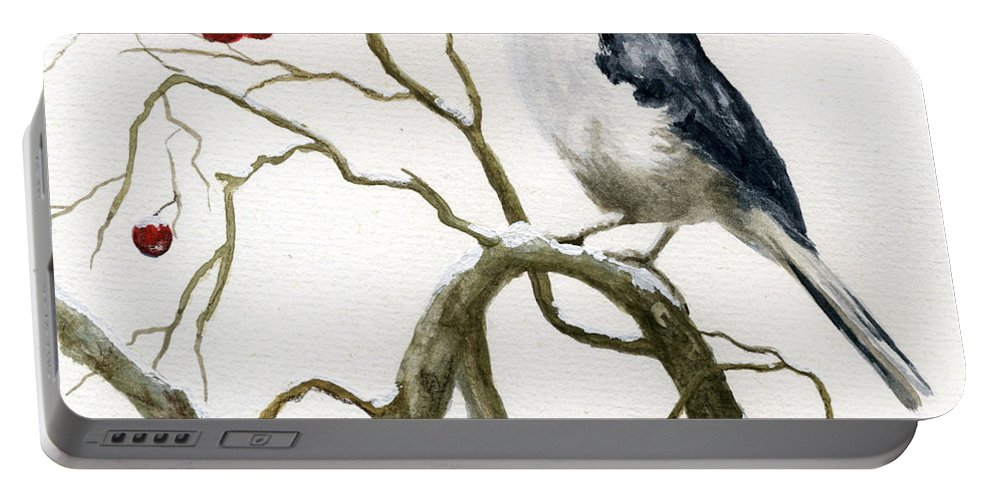 Birds Portable Battery Charger featuring the painting The Chickadee by Mary Tuomi