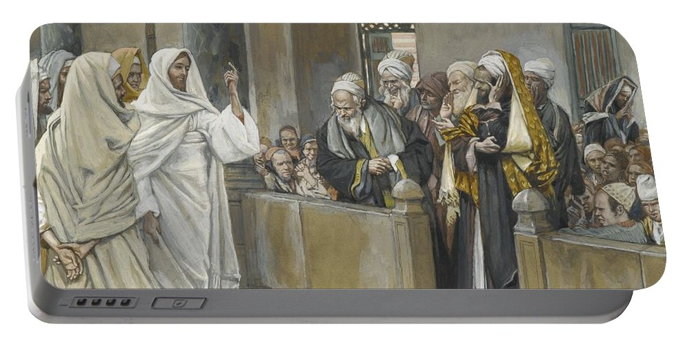 Pharisees;tissot Portable Battery Charger featuring the painting The Chief Priests Ask Jesus By What Right Does He Act In This Way by James Jacques Joseph Tissot