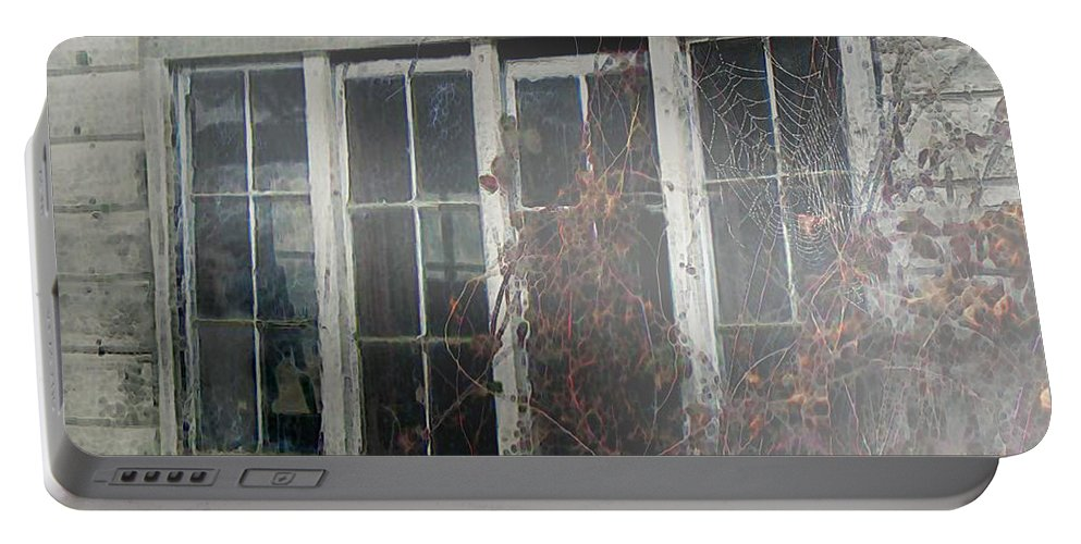 Boy Portable Battery Charger featuring the painting The Child At The Window by RC DeWinter