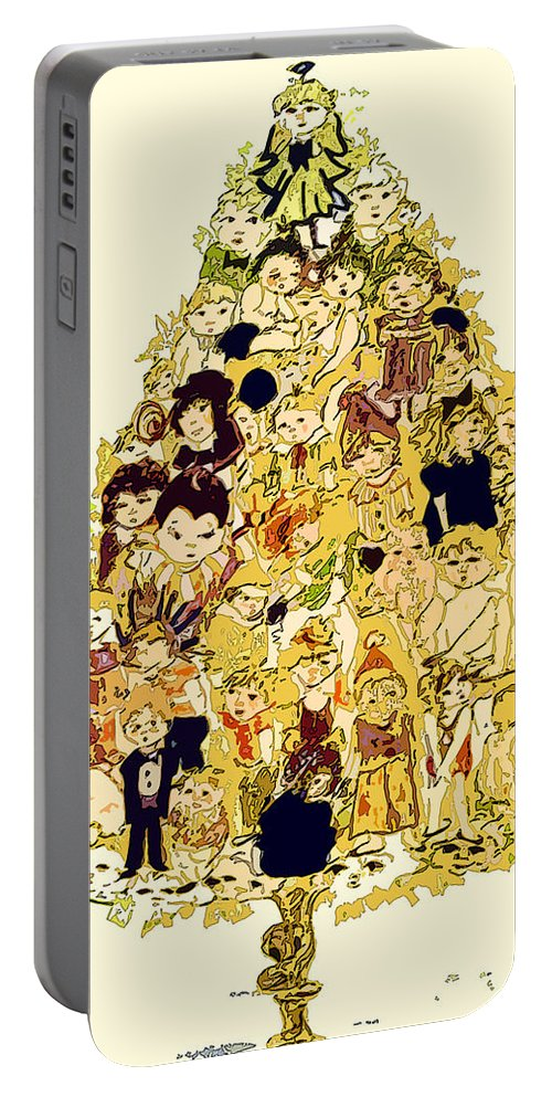 Children Portable Battery Charger featuring the painting The Children Tree by Mindy Newman