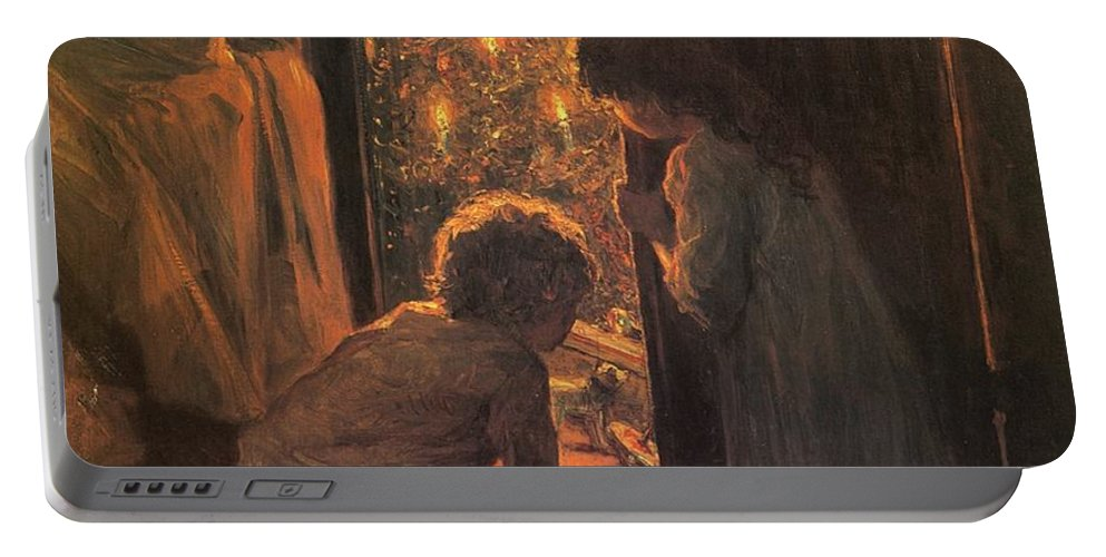 The Christmas Tree Portable Battery Charger featuring the painting The Christmas Tree by Henry Mosler
