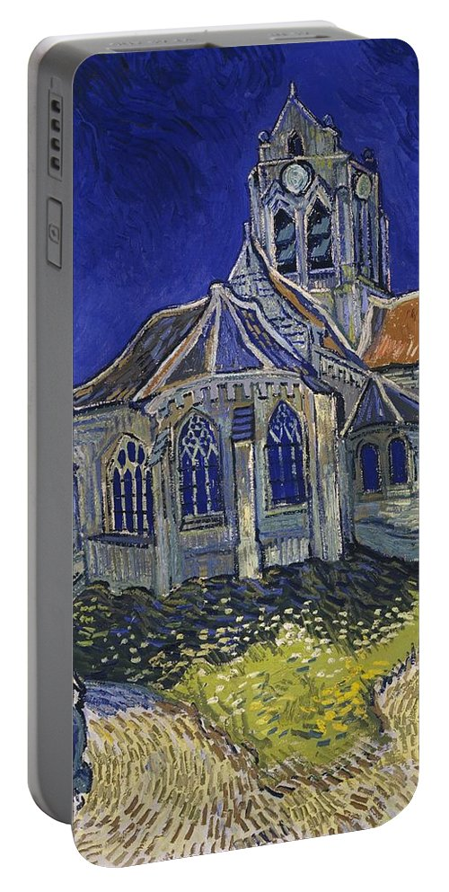 Vincent Van Gogh Portable Battery Charger featuring the painting The Church At Auvers by Van Gogh