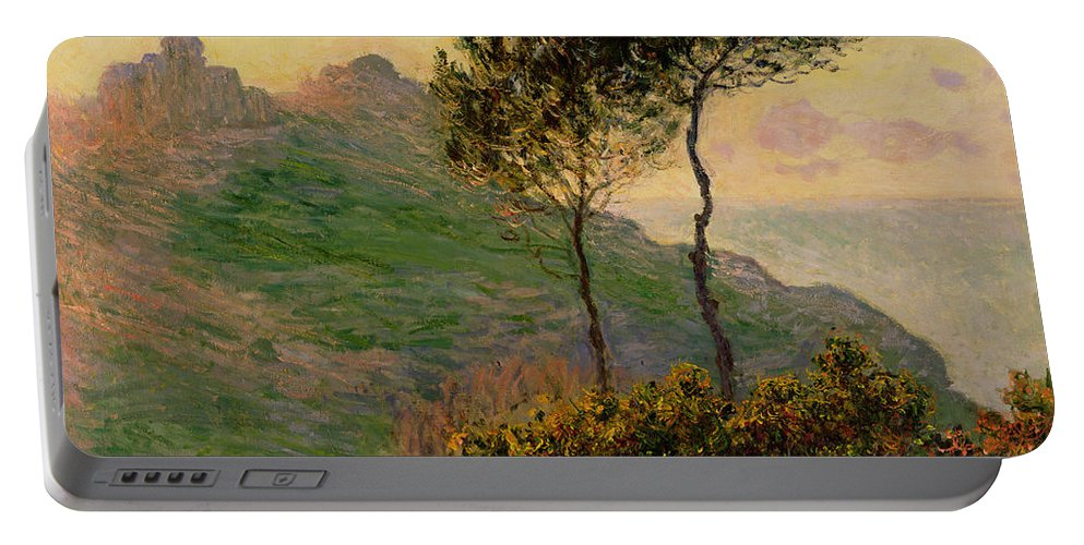 The Church At Varengeville Portable Battery Charger featuring the painting The Church At Varengeville Against The Sunlight by Claude Monet