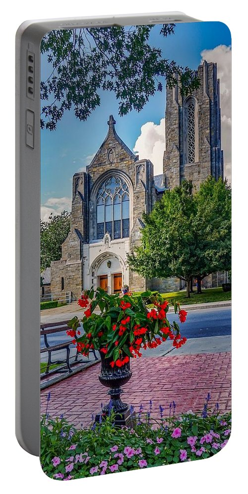 Portable Battery Charger featuring the photograph The church in summer by Kendall McKernon