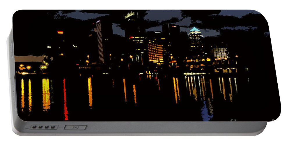Tampa Florida Portable Battery Charger featuring the photograph The City Dark by David Lee Thompson
