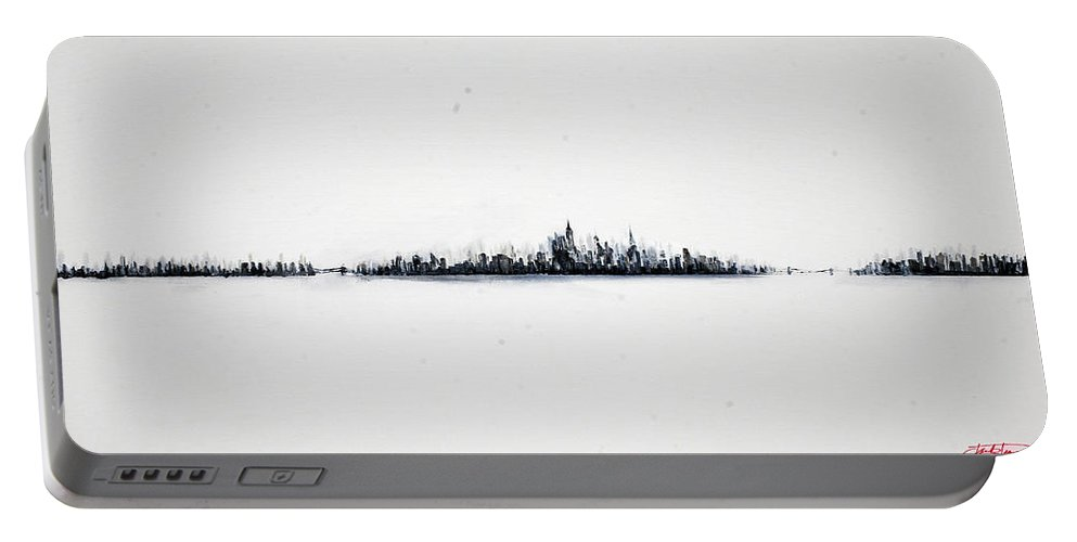 New Portable Battery Charger featuring the painting The City New York by Jack Diamond