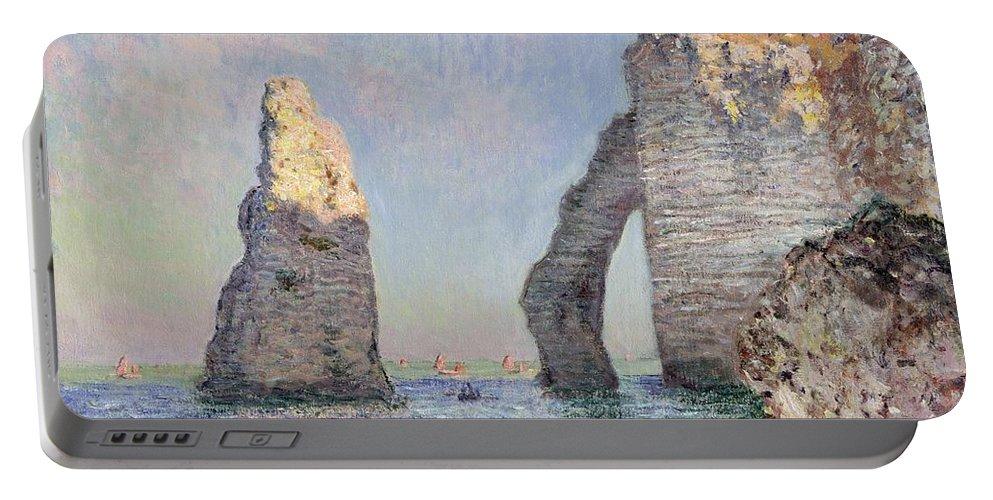 The Cliffs At Etretat Portable Battery Charger featuring the painting The Cliffs At Etretat by Claude Monet