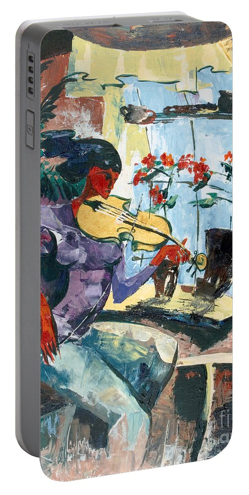 Music Portable Battery Charger featuring the painting The Color Of Music by Elisabeta Hermann