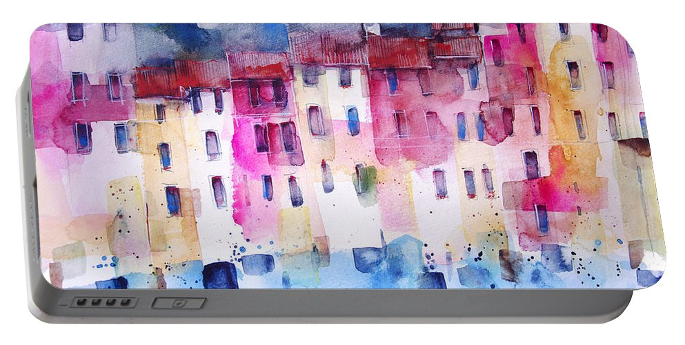 Architecture Portable Battery Charger featuring the painting The coloured houses of Portofino by Alessandro Andreuccetti