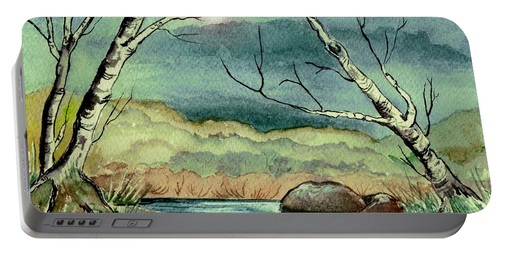 Watercolor Portable Battery Charger featuring the painting The Coming Storm by Brenda Owen