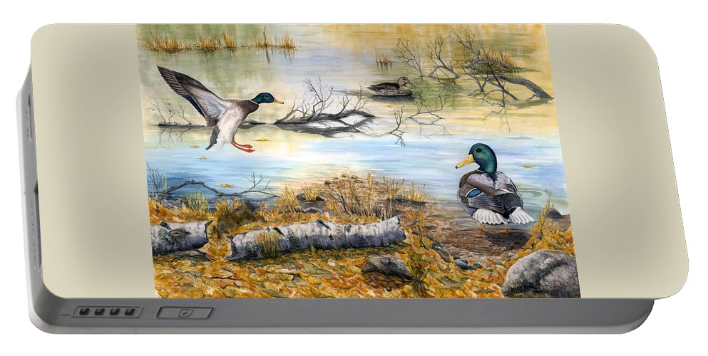 Mallerds Portable Battery Charger featuring the painting The Competition by Mary Tuomi
