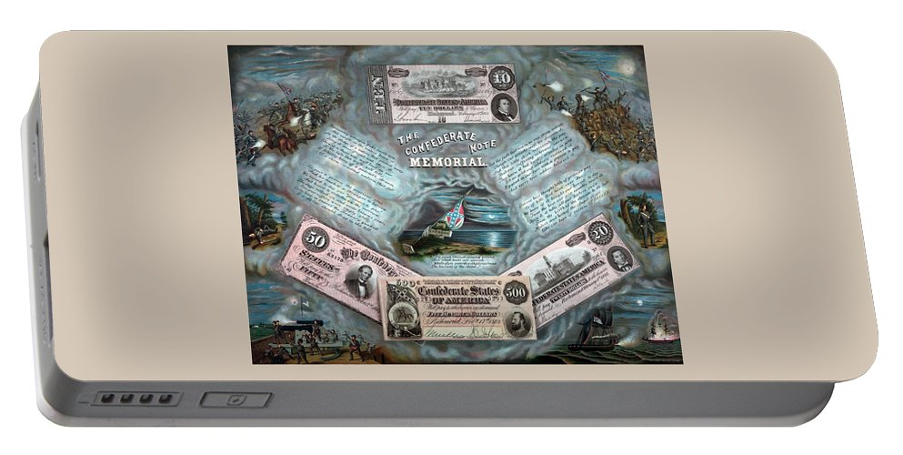 Civil War Portable Battery Charger featuring the painting The Confederate Note Memorial by War Is Hell Store