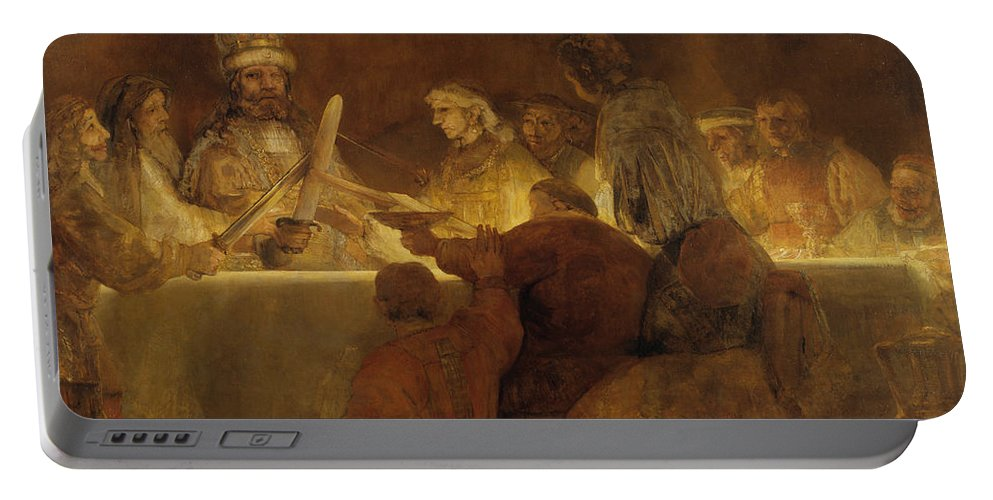 Rembrandt Portable Battery Charger featuring the painting The Conspiracy Of The Batavians Under Claudius Civilis by Rembrandt