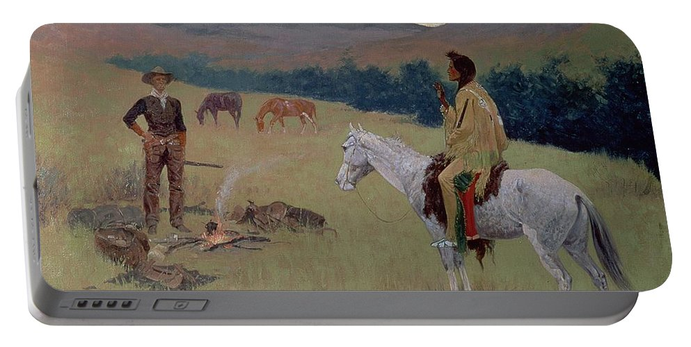 The Conversation Portable Battery Charger featuring the painting The Conversation by Frederic Remington
