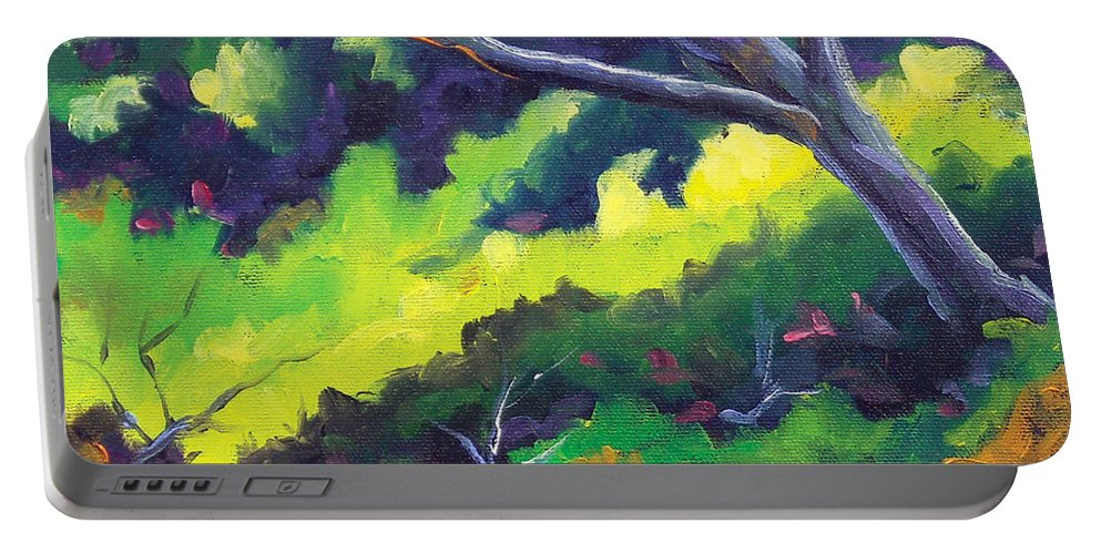 Art Portable Battery Charger featuring the painting The Cool Shade by Richard T Pranke