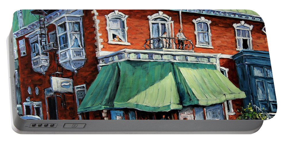 Art Portable Battery Charger featuring the painting The Corner Market by Richard T Pranke