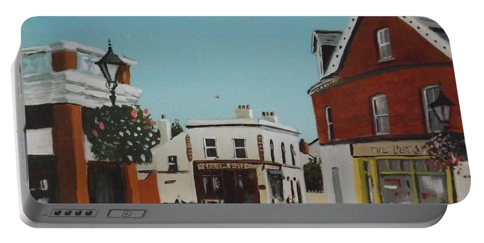 Dalkey Portable Battery Charger featuring the painting The Corner Note, Dalkey by Tony Gunning