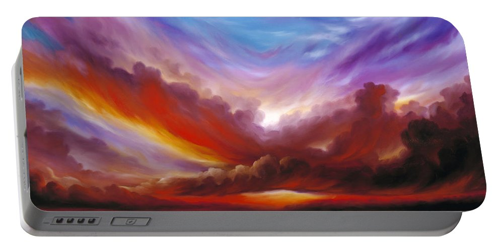 Skyscape Portable Battery Charger featuring the painting The Cosmic Storm II by James Christopher Hill