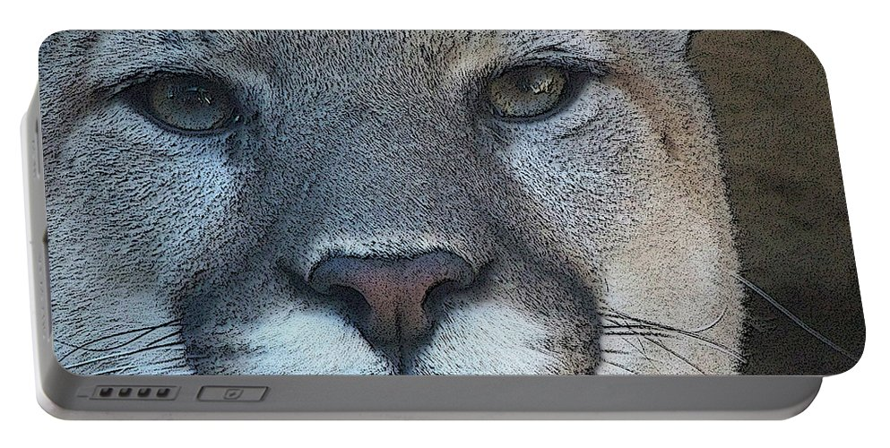 Animals Portable Battery Charger featuring the digital art The Cougar 3 by Ernie Echols