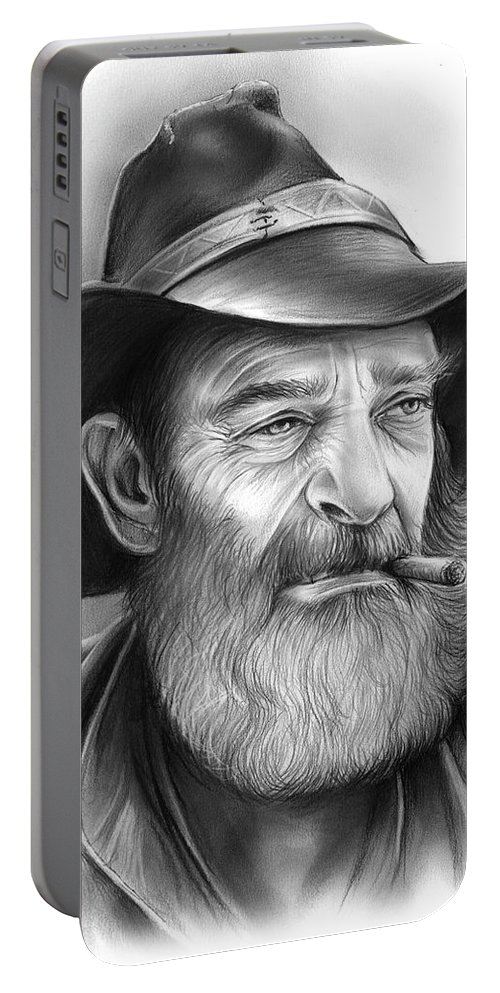 Cowboy Portable Battery Charger featuring the drawing The Cowboy by Greg Joens