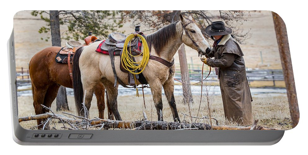 Horses Portable Battery Charger featuring the photograph The Cowboy Way by Jack Bell