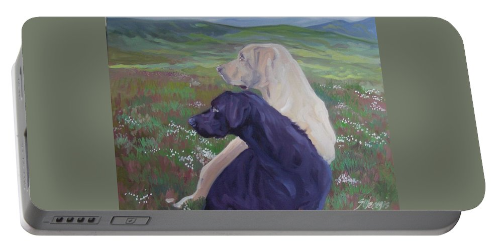 Labrador Retrievers Portable Battery Charger featuring the painting The Crack Of The Rifle by Sheila Wedegis