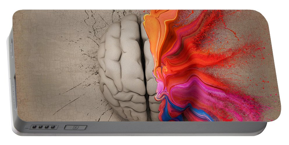 Brain Portable Battery Charger featuring the digital art The Creative Brain by Johan Swanepoel