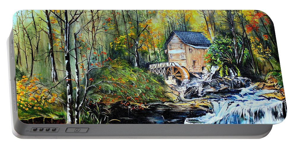 Creek Portable Battery Charger featuring the painting Glade Creek by Farzali Babekhan