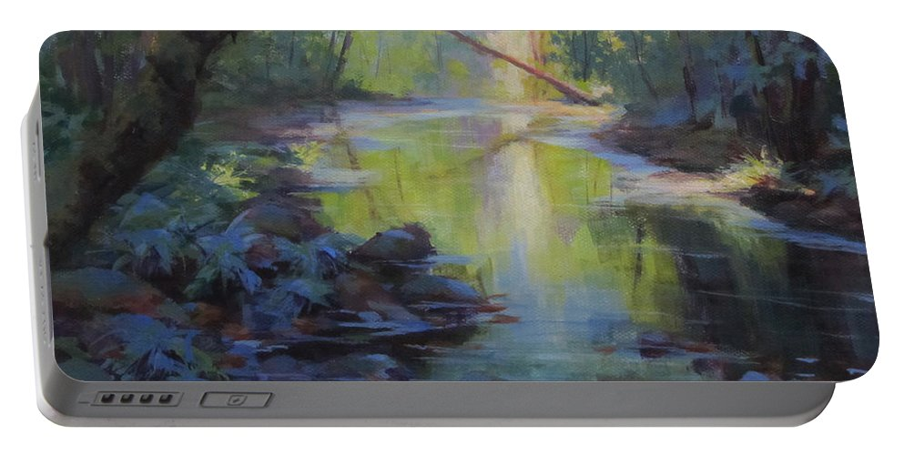 Creek Portable Battery Charger featuring the painting The Creek by Karen Ilari