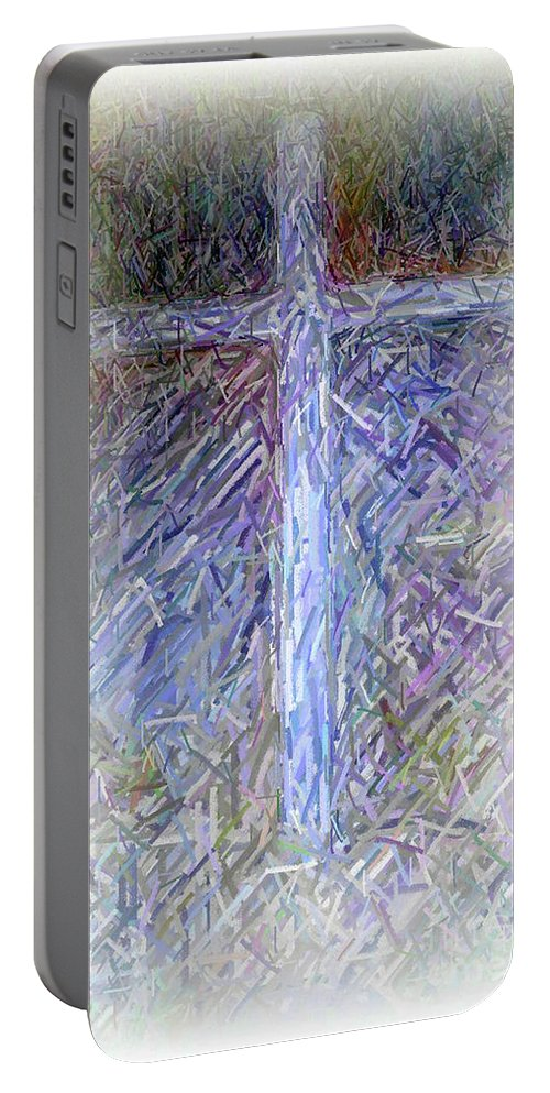 The Cross Portable Battery Charger featuring the digital art The Cross by Karen Francis