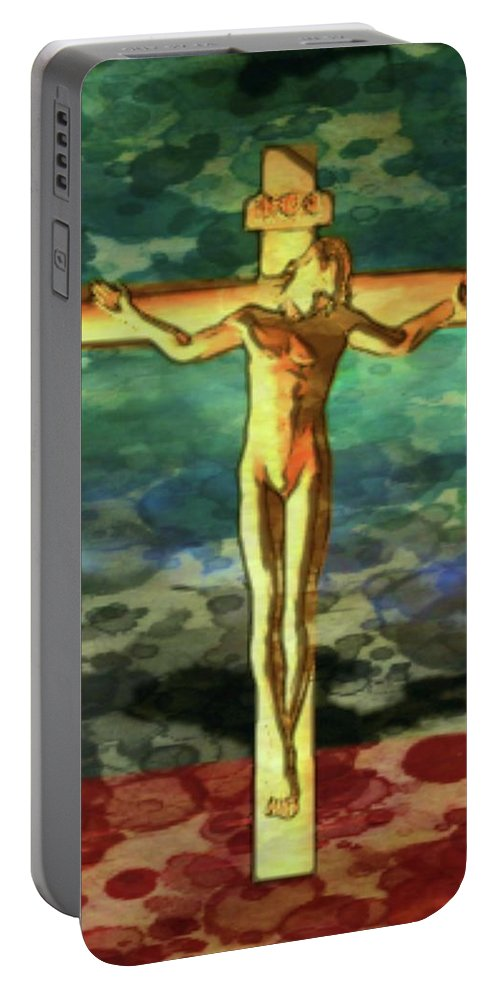 Fantasy Portable Battery Charger featuring the digital art The Crucific Pop Art By Mary Bassett by Mary Bassett