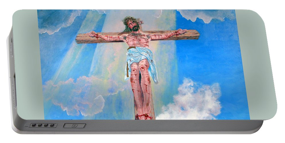 Christian Portable Battery Charger featuring the painting The Crucifixion Daytime by Stan Hamilton