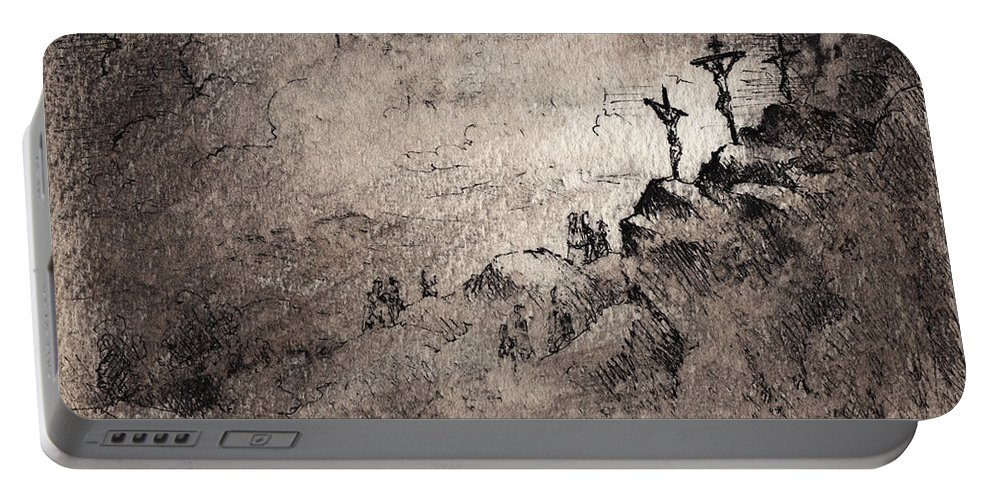 Crucifixion Portable Battery Charger featuring the drawing The Crucifixion by Rachel Christine Nowicki