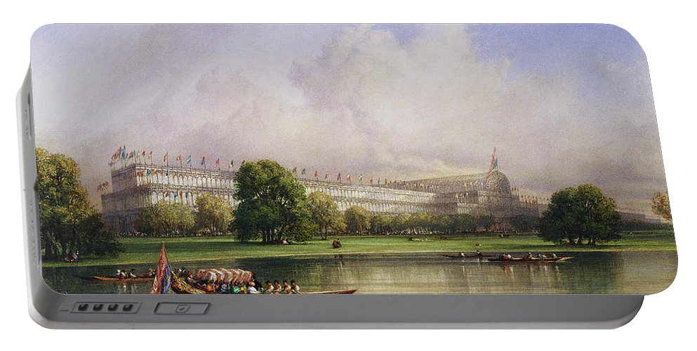 William Wyld (1806-89) The Crystal Palace Seen From The Serpentine Dated 1852 Portable Battery Charger featuring the painting The Crystal Palace Seen From The Serpentine by William