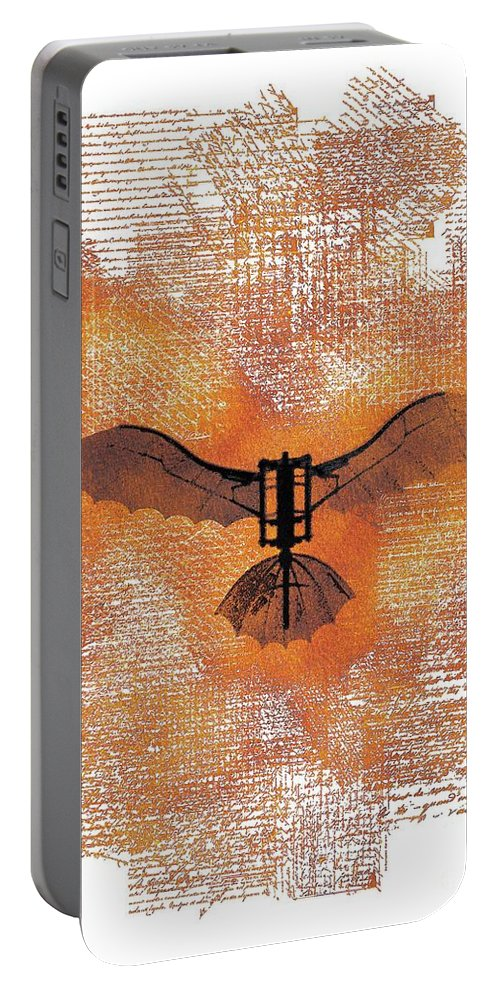 Da Vinci Portable Battery Charger featuring the painting The Da Vinci Flying Machine by Sarah Kirk