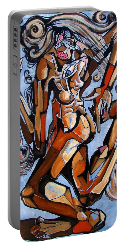 Surrealism Portable Battery Charger featuring the painting The Dance Of Ecstacy by Darwin Leon