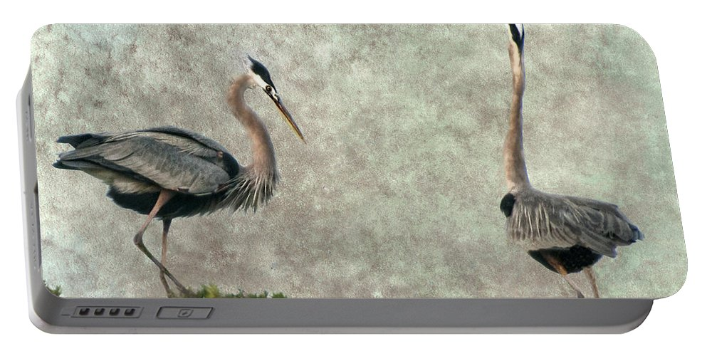Bird Portable Battery Charger featuring the photograph The Dance Of Life - Great Blue Herons In Mating Ritual - Digital Painting by Mitch Spence