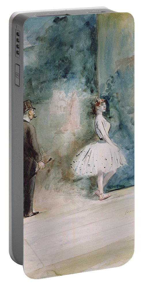 The Portable Battery Charger featuring the drawing The Dancer by Jean Louis Forain