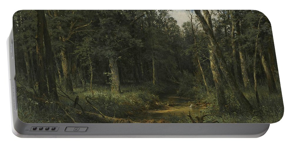 Ivan Shishkin Portable Battery Charger featuring the painting The Dark Wood by Ivan Shishkin
