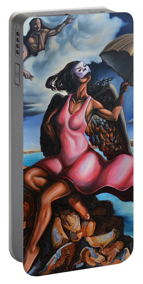 Surrealism Portable Battery Charger featuring the painting The Daughter Of Men by Darwin Leon